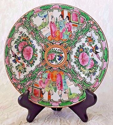 Antique Hand Painted Chinese Famille Rose Medallion Porcelain Plate w/ Display