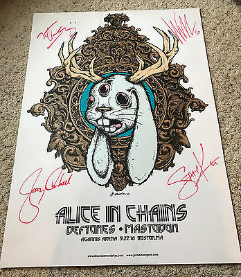 Alice in Chains Signed Boston, MA 2010 Tour Poster Lithograph Authographed