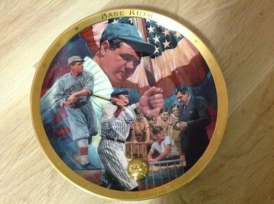 Franklin Mint Baseball Legends Plate Set - Babe Ruth, Gehrig, Ty Cobb (6 Plates)