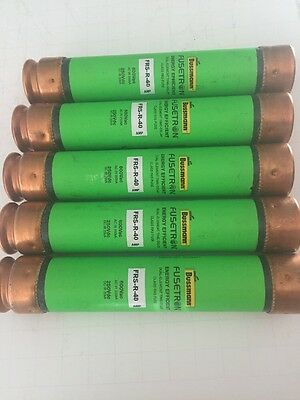 Lot of 5 - New-No Box, Bussmann FRS-R-40 Time Delay Fuse, 40A, 600VAC, 250VDC