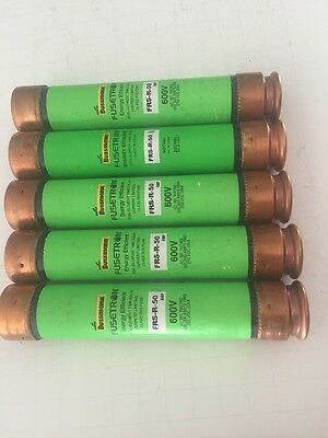 Lot of 5 - New-No Box, Bussmann FRS-R-50 Time Delay Fuse, 50 Amp 600VAC, 250VDC