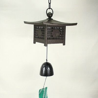 D400: Japanese NANBU iron ware wind chime of a lantern form with good sound
