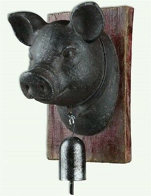 Farmhouse Pig Head Wall Decor Plaque French Country Farm Animal Pig With Bell