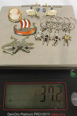 Mixed Lot of 6, 37gr, 925, Silver, Sterling, Jewelry, Brooch's and Pin,For Wear.