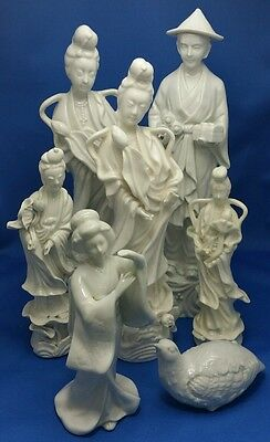 LOT-19/20thC Chinese Blanc de Chine Porcelain Figures Statues Guanyin Scholar