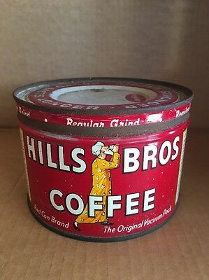 Vintage Hills Bros Coffee Tin Can 1936 Red Can Brand With Lid 1 Pound Size