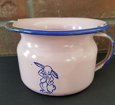 childs potty antique commode chamber pot pink blue porcelain metal bunny