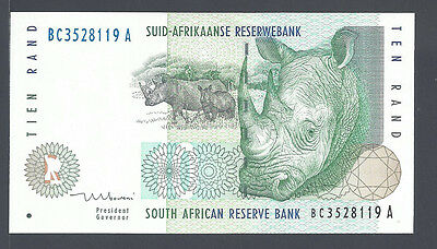 South Africa (8119A), 1999 -- UNC -- 10 Rand, P123b (sign Mboweni)