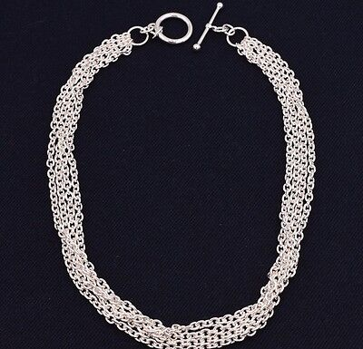 """4 Row Oval Rolo Necklace with Toggle Clasp Real 925 Sterling Silver 17"""""""
