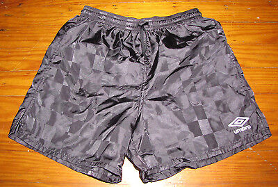 Umbro Kids Boys Girls Medium Black Checkerboard Silky Shiny Euc Soccer Shorts