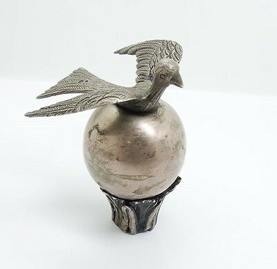 Unusual Antique Spanish Colonial Silver Bird on Globe Flag Pole Final