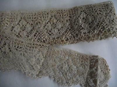 Vintage Victorian Hand Made Lace Trim..beautiful Piece..free Shipping