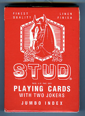 NEW Vintage Stud Playing Cards Sealed Red Box JUMBO INDEX Walgreens Sealed