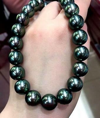 "18"" Huge Aaa 11-12Mm South Sea Round Black Green Pearl Necklace 14K Yellow Gold"