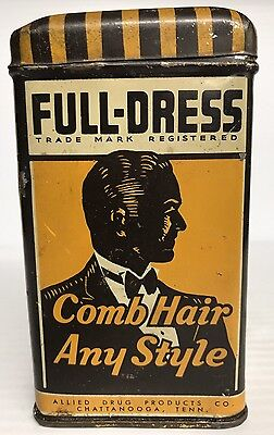 ANTIQUE FULL DRESS HAIR BALM TIN LITHO CAN CHATTANOOGA, Tennessee