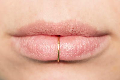 Fake Lip Ring NO PIERCING 18 gauge Lip Cuff, Thick GOLD ALL SIZES