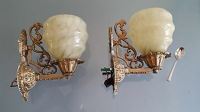 2 ART DECO WALL SCONCES. CLASSIC STYLE ( C1930s ) NEED A TIDY UP.