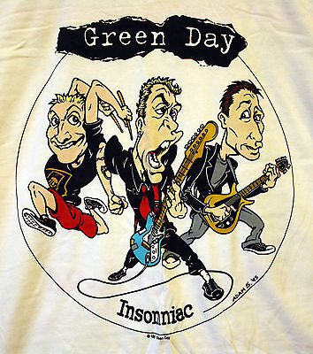 Vintage Green Day Insomniac Shirt 1995 New! Cartoon Tour Pop Punk 90s Rare! Pins