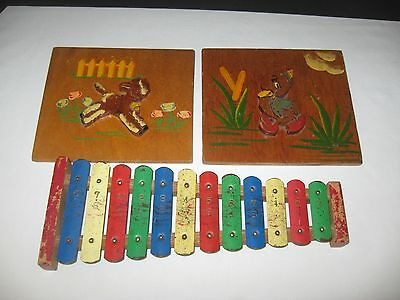 Vintage Baby Nursery Decor Wood Duck Lamb Picture And Toy Lot