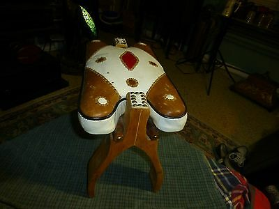 Vintage EGYPTIAN CAMEL SADDLE SEAT Wood Leather Foot Stool RARE !