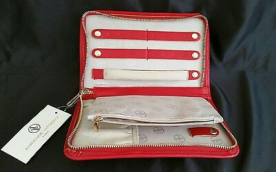 Adrienne Vittadini Red Leather Jewelry case purse wallet Travel Bag