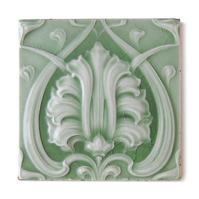 Antique Tile Art Nouveau Arts & Crafts Aesthetic Embossed Majolica Green White
