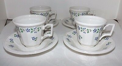 (Set of 4)*** Iroquois China PERIWINKLE CUPS and SAUCERS (Henry Ford Museum)