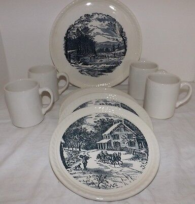 9-Piece Royal China Currier and Ives DESSERT SET (Cake Plate, 4 Plates & 4 Mugs)