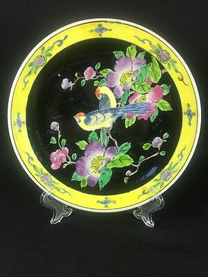 Antique Japanese Hand Painted Pheasant Bird Pair Noir Blossom Decorative Plate