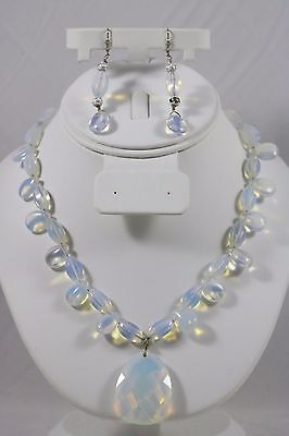 Aurora Borealis AB Chunky Bead Silver Tone Necklace Pendant Dangle Earrings Set