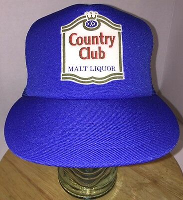 295138ad25e Vintage 80s COUNTRY CLUB MAT LIQUOR Blue Trucker Hat Cap Snapback ALCOHOL  BEER