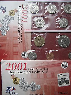 USA US 2001 UNC 10 coin mint year set 2 sealed packs Cent - $1 Dollar envelope