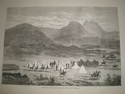 South Africa war Kaffirs a Buffs camp Transvaal 1878 old print ref Y1