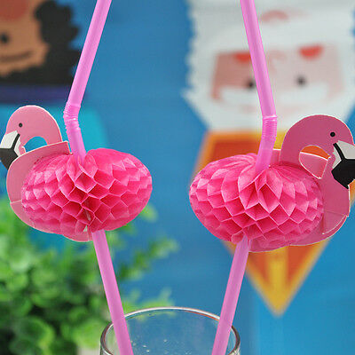 3D Flamingo Cocktail Drinking Straw Disposable Party Decor Wedding Beach Supply