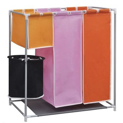 Removable 3-Section Laundry Washing Basket Bag Sorter Hamper with a Washing Bin