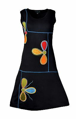 Women's Summer Sleeveless Dress With Patch And Embroidery