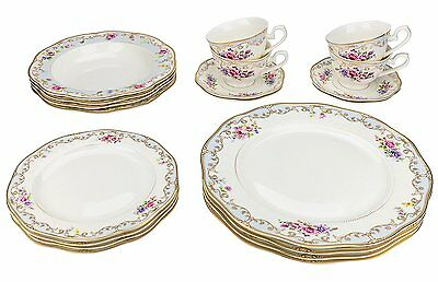 Classic Gold-Plated Porcelain Dinner Service for Four, 20-Piece Dinnerware Set