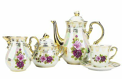 Classic Gold-Plated Vintage Porcelain Dining Tea Set for Six, 15-Piece Set