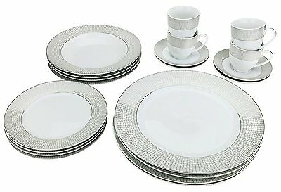 Classic Silver-Plated Porcelain Dinner Service for Four, 20-Piece Dinnerware Set