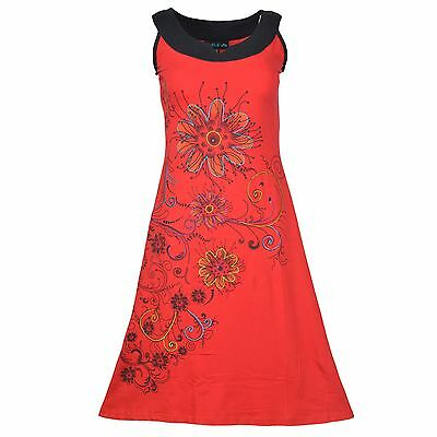 Women's Sleeveless Dress With Floral Prints And Colorful Embroidery