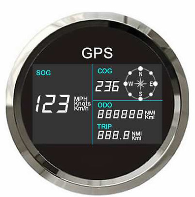 GPS Digital Speedo & Compass MPH KPH & Knots for Boats Cars Motorcycles 85mm