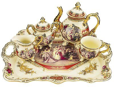 Classic Gold-Plated Vintage Porcelain Dining Tea Set for Six, 10-Piece Set
