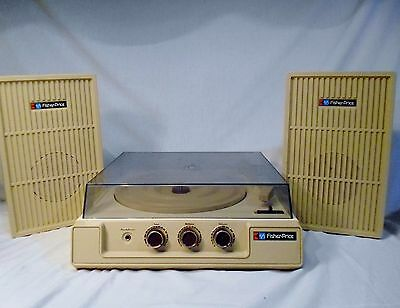Vtg 1983 Fisher Price Stereo System Record Player & Speakers w/ Instructions