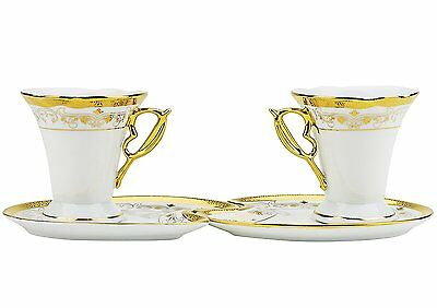 Six 4 Oz. Classic Vintage Porcelain Gold-Plated Cups with Saucers, 12-Piece Set