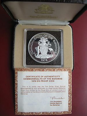 Commonwealth Of Bahamas 1978 Silver Proof $10 coin Prince Charles Cased COA #3