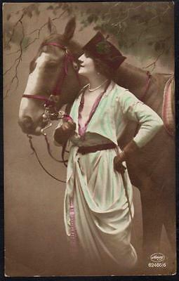 *Vintage Animal Postcard - Beautifully Dressed Woman With Horse