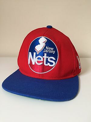 Nets New Jersey Cap Hat SnapBack Mitchell And Ness NBA Red Blue B0413