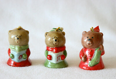 Teddy Bear Christmas Bells Vintage Collectible Lot of 3 Holiday Porcelain Home D