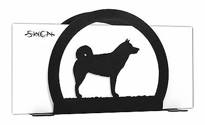 Norwegian Elkhound Dog Black Metal Napkin or Letter Holder *NEW*