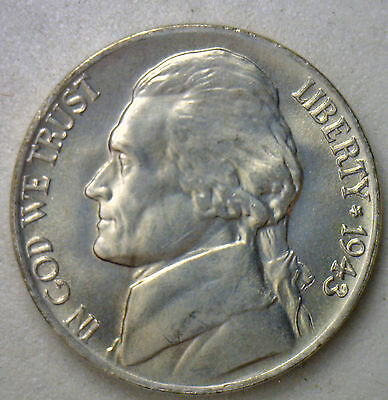 1943 P Wartime Jefferson Nickel UNC Five Cent Choice BU Coin Silver #R